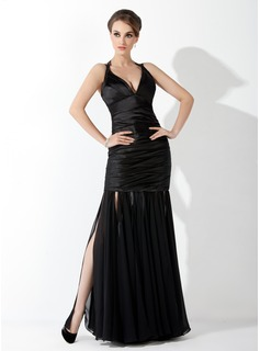 Mermaid Halter Floor-Length Chiffon Charmeuse Evening Dress With Ruffle