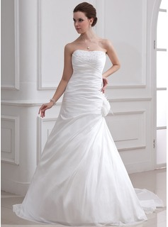 A-Line/Princess Sweetheart Court Train Taffeta Wedding Dress With Ruffle Beadwork Feather Flower(s)
