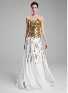 A-Line/Princess Sweetheart Floor-Length Chiffon Sequined Prom Dress