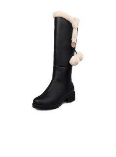 Leatherette Chunky Heel Knee High Boots shoes