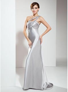 Empire One-Shoulder Sweep Train Charmeuse Evening Dress With Ruffle Beading