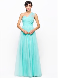 A-Line/Princess One-Shoulder Floor-Length Tulle Charmeuse Bridesmaid Dress With Ruffle