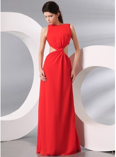 A-Line/Princess Scoop Neck Floor-Length Chiffon Evening Dress With Ruffle (017014000)