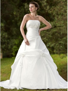 Ball-Gown Strapless Chapel Train Taffeta Wedding Dress With Ruffle (002001255)