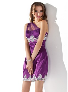 Sheath/Column One-Shoulder Short/Mini Tulle Charmeuse Homecoming Dress With Ruffle Lace Beading Sequins