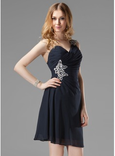 Sheath/Column One-Shoulder Short/Mini Chiffon Cocktail Dress With Ruffle Beading Appliques Sequins
