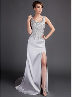 A-Line/Princess Scoop Neck Court Train Charmeuse Prom Dress With Lace Beading Split Front
