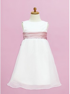Empire Scoop Neck Floor-Length Organza Satin Flower Girl Dress With Sash