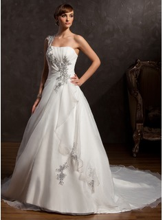 Ball-Gown One-Shoulder Chapel Train Organza Satin Wedding Dress With Ruffle Beadwork Appliques