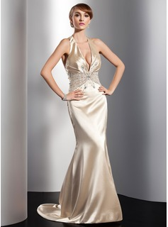 Sheath Halter Sweep Train Charmeuse Evening Dress With Ruffle Beading Sequins