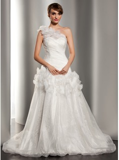 A-Line/Princess One-Shoulder Chapel Train Organza Wedding Dress With Ruffle Flower(s)