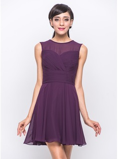 A-Line/Princess Scoop Neck Short/Mini Chiffon Bridesmaid Dress With Ruffle