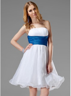 A-Line/Princess Strapless Knee-Length Organza Satin Wedding Dress With Ruffle Sashes