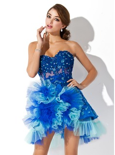 A-Line/Princess Sweetheart Asymmetrical Tulle Homecoming Dress With Lace Beading Cascading Ruffles