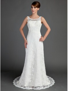A-Line/Princess Scoop Neck Court Train Satin Lace Wedding Dress