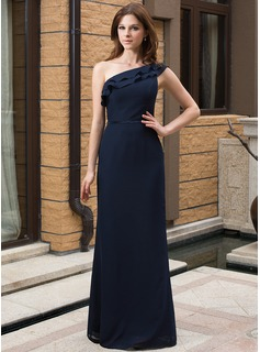 Sheath/Column One-Shoulder Floor-Length Chiffon Charmeuse Bridesmaid Dress With Cascading Ruffles