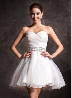 A-Line/Princess Sweetheart Short/Mini Organza Wedding Dress With Ruffle Beadwork Sequins