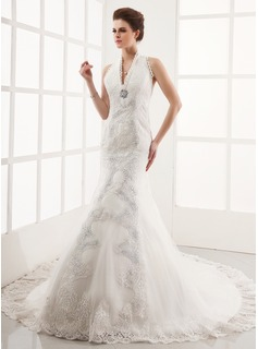Trumpet/Mermaid Halter Cathedral Train Satin Tulle Wedding Dress With Lace Beading