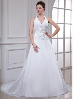 A-Line/Princess Halter Chapel Train Chiffon Wedding Dress With Embroidery Beadwork Sequins