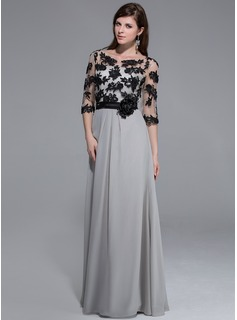 A-Line/Princess Scoop Neck Floor-Length Chiffon Tulle Charmeuse Prom Dress With Lace Flower(s)
