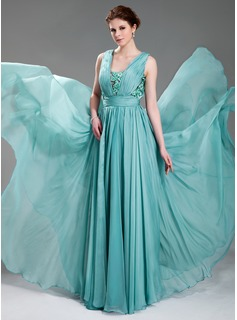 A-Line/Princess V-neck Floor-Length Chiffon Tulle Evening Dress With Ruffle Beading Appliques