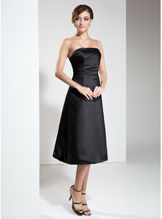 A-Line/Princess Strapless Tea-Length Satin Little Black Dress With Ruffle (043004245)