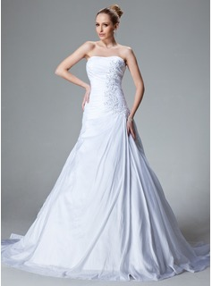A-Line/Princess Sweetheart Court Train Taffeta Wedding Dress With Ruffle Beading Appliques Lace