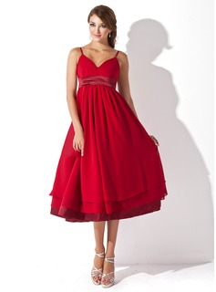 Empire Sweetheart Tea-Length Chiffon Charmeuse Maternity Bridesmaid Dress With Ruffle (045004378)