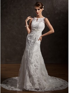 Mermaid Scoop Neck Chapel Train Satin Tulle Wedding Dress With Lace Beadwork