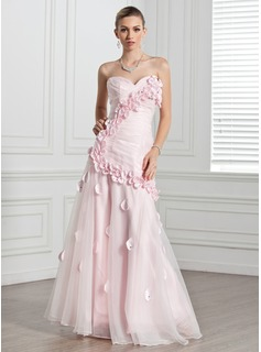 A-Line/Princess Sweetheart Floor-Length Organza Evening Dress With Ruffle Flower(s) (017005271)