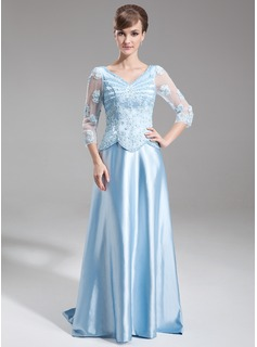 A-Line/Princess V-neck Sweep Train Tulle Charmeuse Mother of the Bride Dress With Lace Beading Sequins