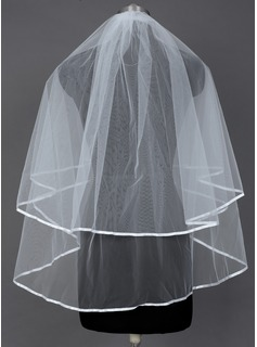Two-tier Elbow Bridal Veils/Fingertip Bridal Veils With Ribbon Edge
