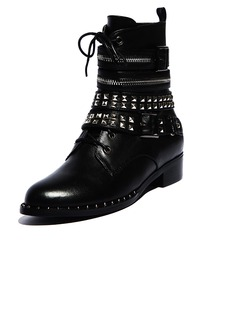 Real Leather Low Heel Closed Toe Ankle Boots With Zipper shoes