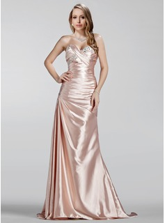 Sheath Sweetheart Sweep Train Charmeuse Evening Dress With Ruffle Beading (017020330)