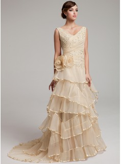 A-Line/Princess V-neck Sweep Train Organza Wedding Dress With Ruffle Lace Beadwork Flower(s)