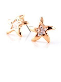 Star Shaped Gold Plated Zircon Girls' Fashion Earrings