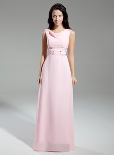 A-Line/Princess Cowl Neck Floor-Length Chiffon Mother of the Bride Dress With Beading