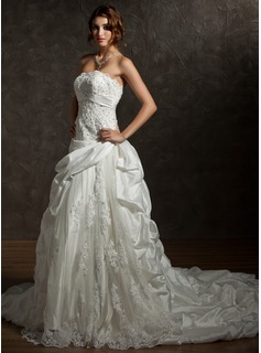 Ball-Gown Strapless Chapel Train Taffeta Lace Wedding Dress With Ruffle Beading Sequins