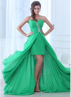 A-Line/Princess Sweetheart Asymmetrical Chiffon Evening Dress With Ruffle Beading