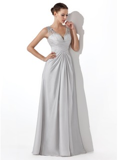 A-Line/Princess V-neck Floor-Length Tulle Satin Chiffon Prom Dress With Ruffle Beading
