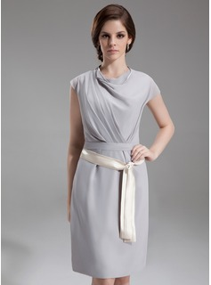 Sheath Cowl Neck Knee-Length Chiffon Kate Middleton Style With Ruffle Sash
