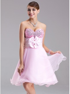 Empire Sweetheart Short/Mini Organza Satin Sequined Homecoming Dress With Ruffle Beading Flower(s) Bow(s)