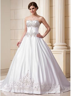 Ball-Gown Sweetheart Chapel Train Satin Wedding Dress With Embroidery Beadwork Sequins (002011761)