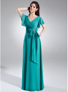 A-Line/Princess V-neck Floor-Length Chiffon Charmeuse Mother of the Bride Dress With Ruffle Crystal Brooch