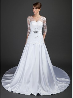 A-Line/Princess V-neck Cathedral Train Satin Tulle Wedding Dress With Lace Beadwork Sequins (002015367)