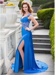 A-Line/Princess Sweetheart Court Train Satin Chiffon Prom Dress With Lace Beading Sequins Split Front