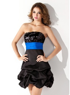 Empire Strapless Short/Mini Satin Sequined Homecoming Dress With Ruffle Sash