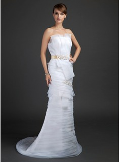 Sheath/Column Scalloped Neck Sweep Train Organza Satin Wedding Dress With Lace Sash