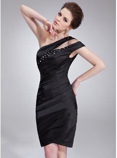 Sheath One-Shoulder Knee-Length Charmeuse Cocktail Dress With Ruffle Beading Sequins