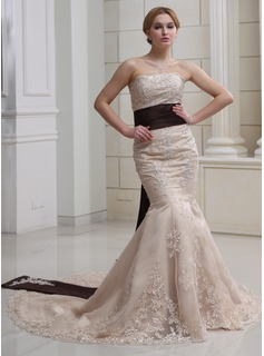 Mermaid Strapless Chapel Train Satin Wedding Dress With Lace Sashes Beadwork Sequins